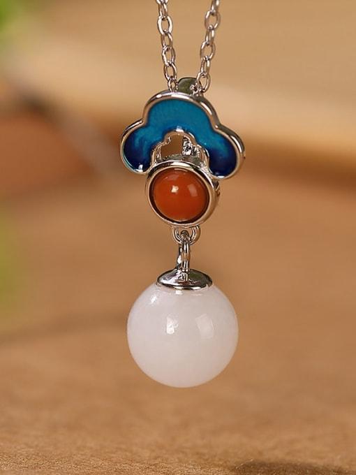 Pendant (excluding chain) 925 Sterling Silver Jade Enamel Flower Vintage Drop Earring