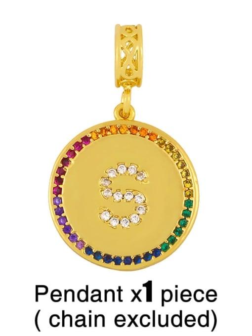 S (without chain) Copper Cubic Zirconia Rround Letter Minimalist Pendant