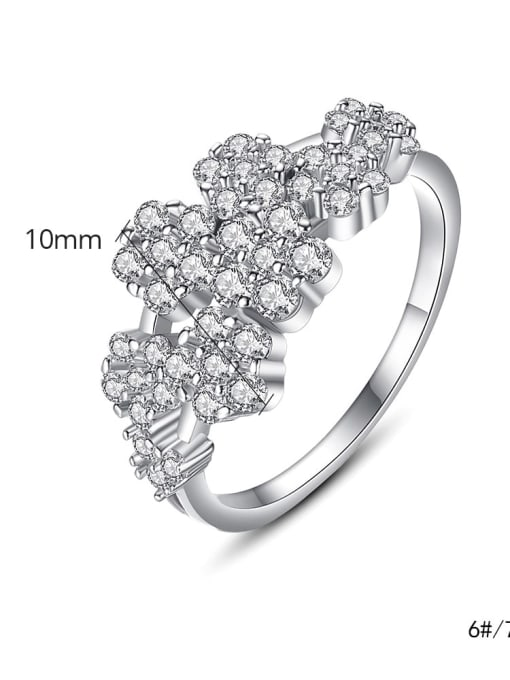 BLING SU Copper Cubic Zirconia Flower Luxury Band Ring 3