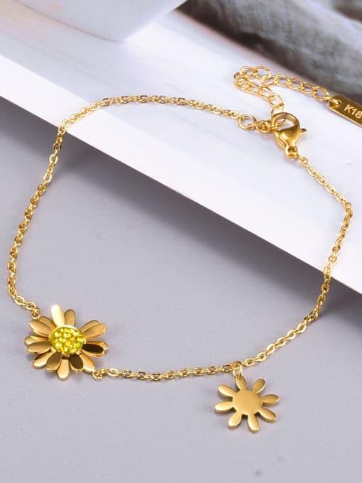 A TEEM Titanium Steel Flower Minimalist Link Bracelet 2