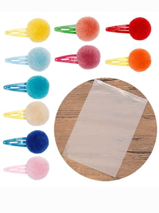 YOKI KIDS Alloy Feather Cute Round ball  Multi Color Hair Barrette 3