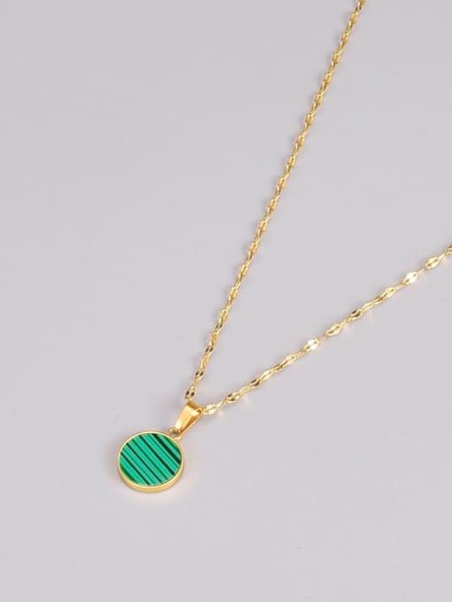 A TEEM Titanium Steel Enamel Round Minimalist Necklace 2