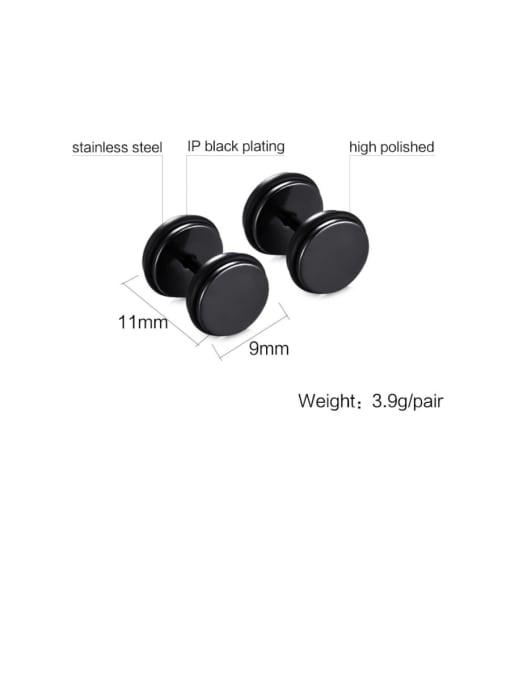 black Titanium Steel Enamel Geometric Minimalist Stud Earring