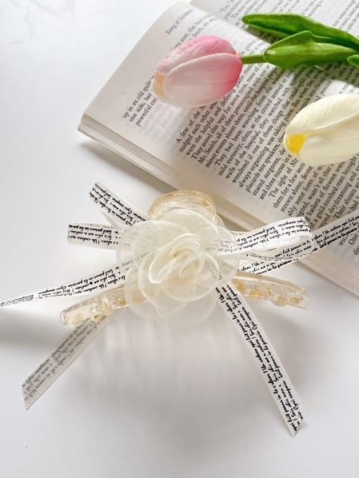 English 11cm Alloy Silk Minimalist Flower  Jaw Hair Claw