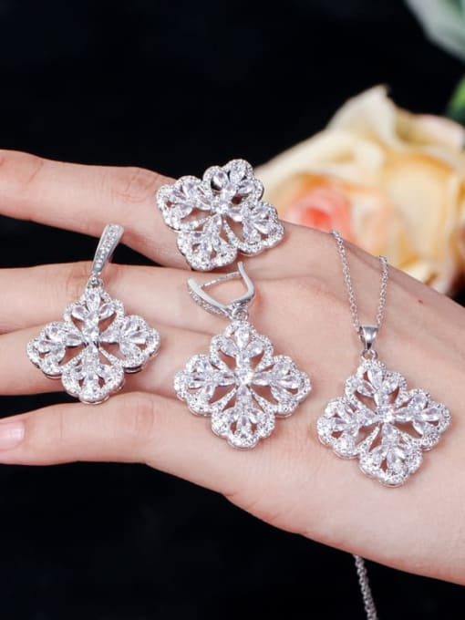 L.WIN Brass Cubic Zirconia Luxury Flower  Earring Ring and Necklace Set 3