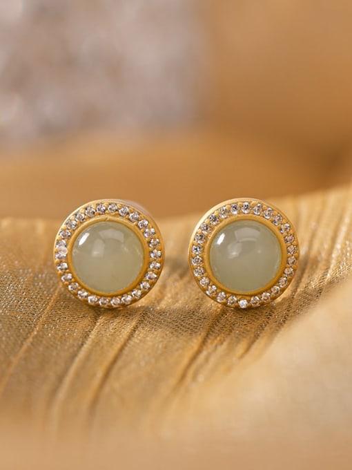 White jade (a pair) 925 Sterling Silver Jade Round Vintage Stud Earring