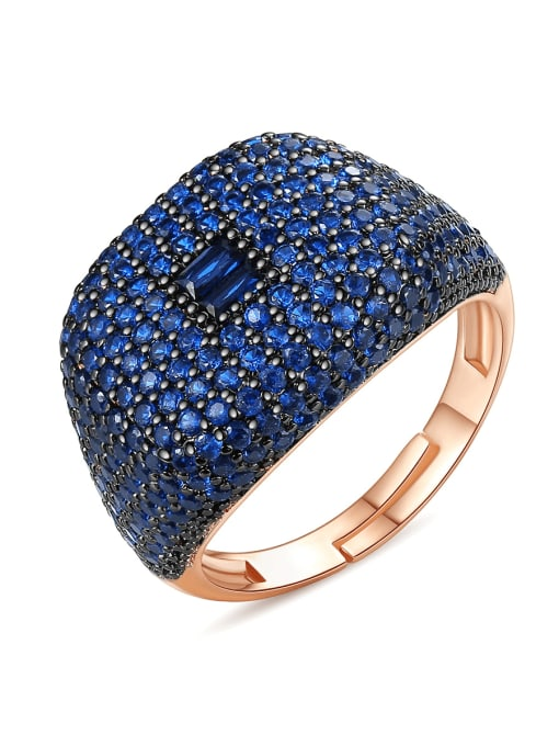 BLING SU Copper Cubic Zirconia Geometric Luxury Statement Ring
