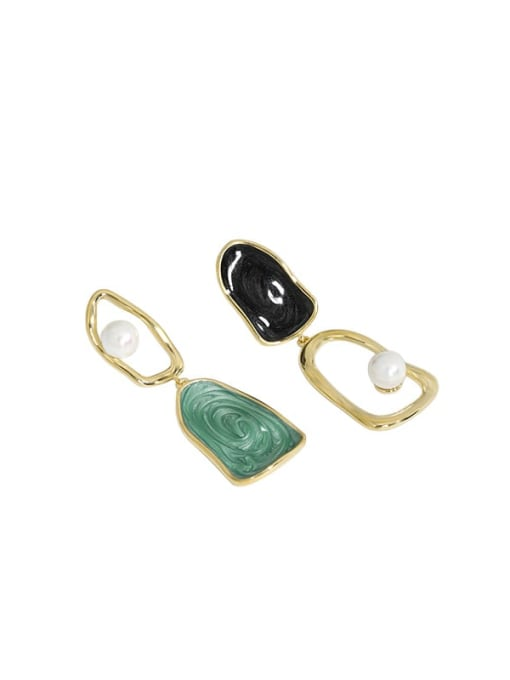 14K gold 925 Sterling Silver Imitation Pearl Enamel Geometric Vintage Drop Earring
