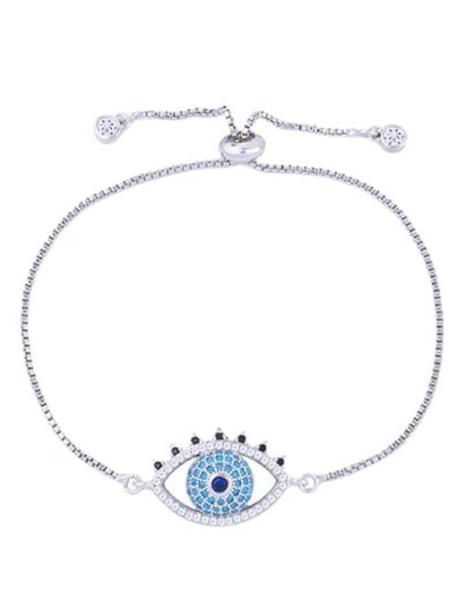 CC Brass Cubic Zirconia Evil Eye Minimalist Adjustable Bracelet 2
