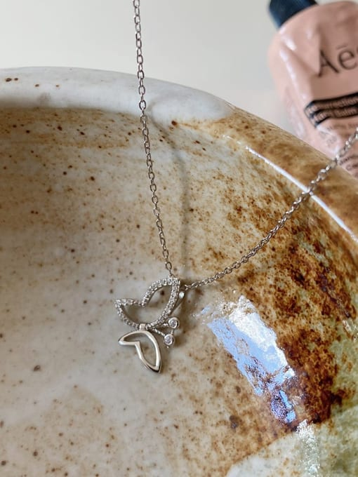 Boomer Cat 925 Sterling Silver Cubic Zirconia Butterfly Minimalist Necklace 2