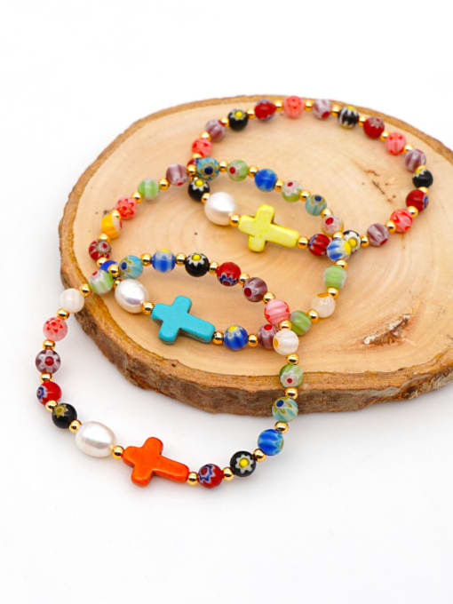 Roxi Stainless steel Glass Bead Multi Color Cross Bohemia Beaded Bracelet 0