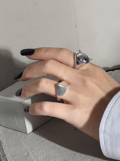 DAKA 925 Sterling Silver Smooth Geometric Minimalist Band Ring 3
