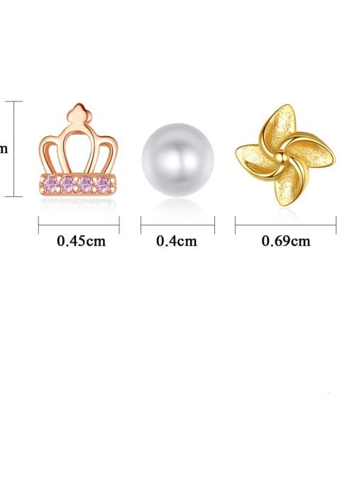 CCUI 925 Sterling Silver Cubic Zirconia Crown Cute Stud Earring 2