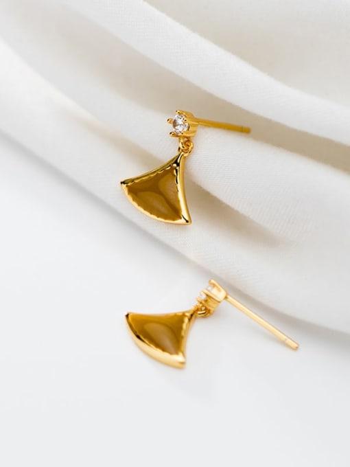 Rosh 925 Sterling Silver Enamel Triangle Minimalist Stud Earring 1