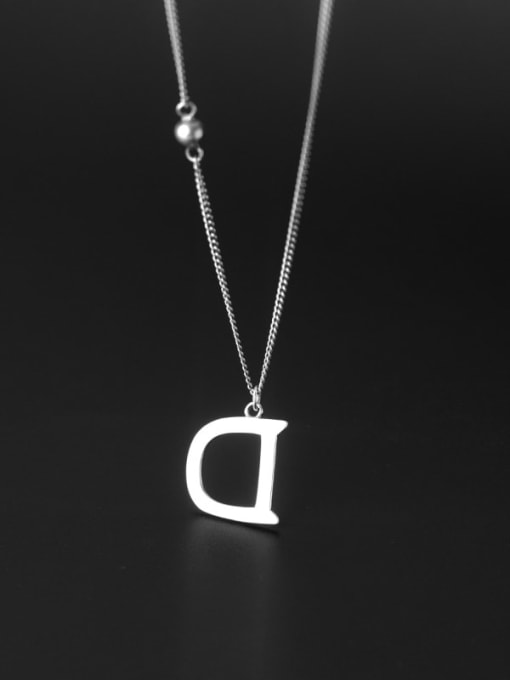 Rosh 925 Sterling Silver Letter Minimalist Necklace 3