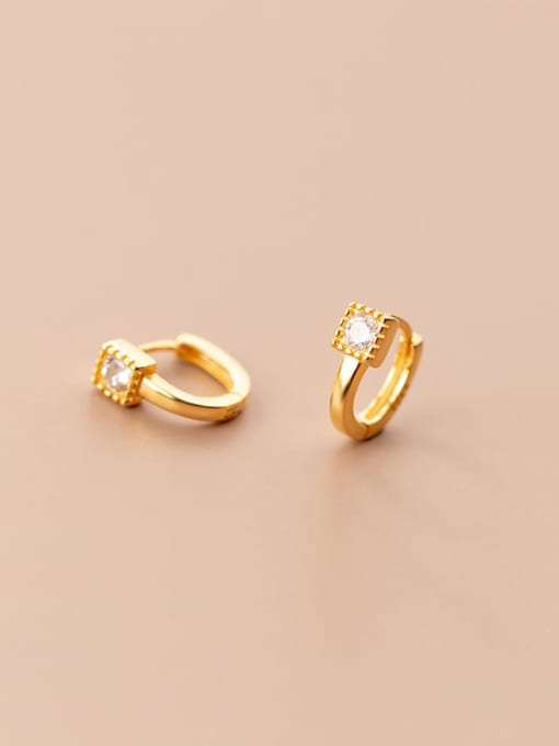 Rosh 925 Sterling Silver Cubic Zirconia Geometric Minimalist Huggie Earring