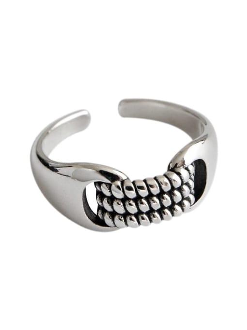 DAKA 925 Sterling Silver Irregular Vintage Band Ring 3