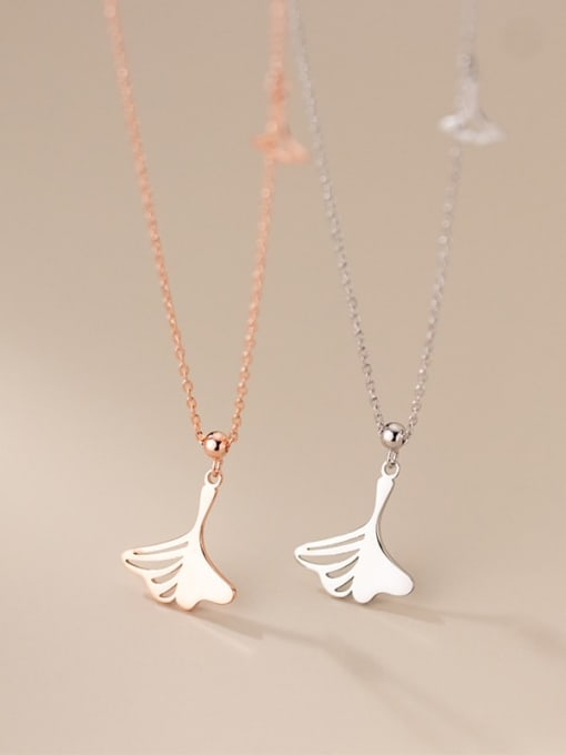 Rosh 925 Sterling Silver Hollow Tree Leaf Minimalist Necklace