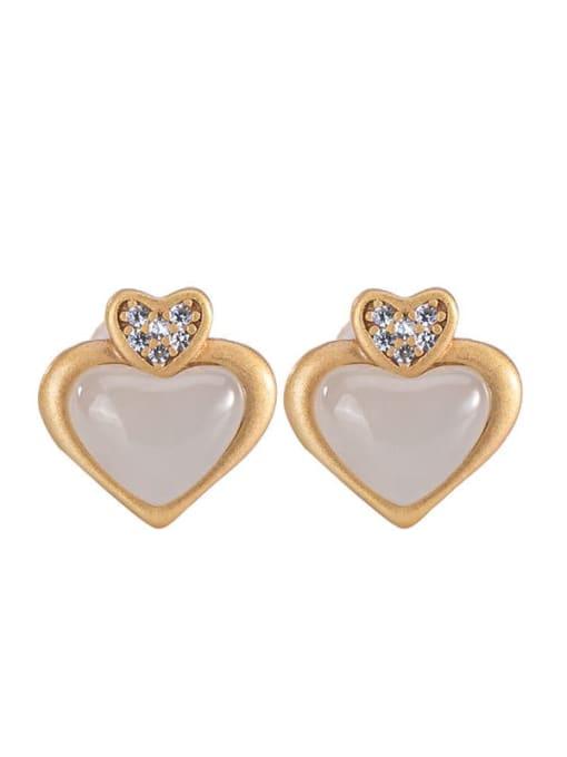 DEER 925 Sterling Silver Jade Heart Cute Stud Earring 3