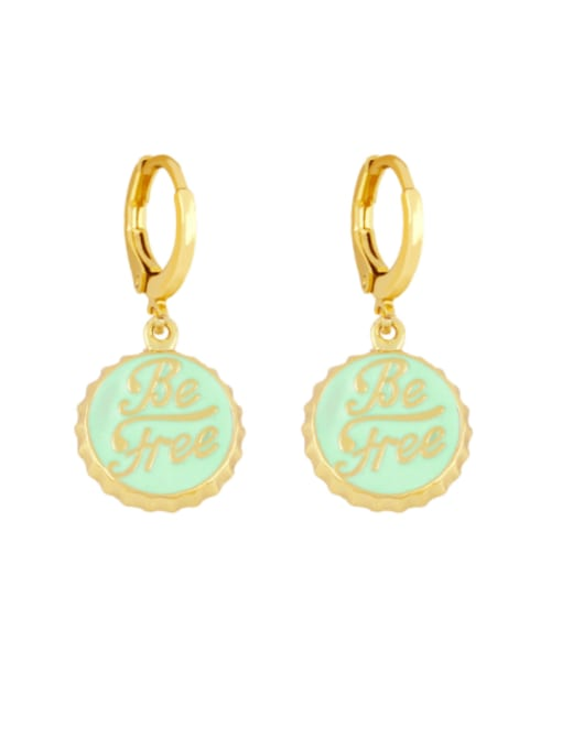 CC Brass Enamel Round Letter Vintage Huggie Earring 1