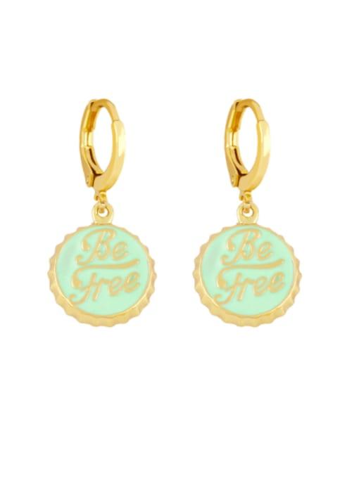 green Brass Enamel Round Letter Vintage Huggie Earring