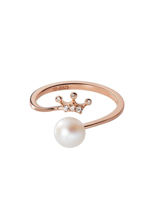 Rosh 925 Sterling Silver Imitation Pearl Crown Minimalist Band Ring 4
