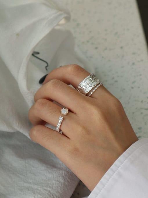 Dak Phoenix 925 Sterling Silver Opal Round Minimalist Band Ring 3