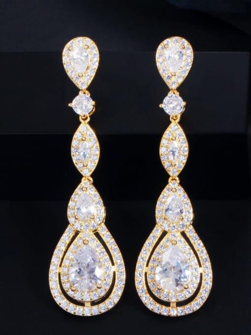 Gold Brass Cubic Zirconia Flower Luxury Drop Earring