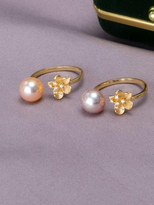 RAIN Brass Freshwater Pearl Flower Vintage Band Ring 0