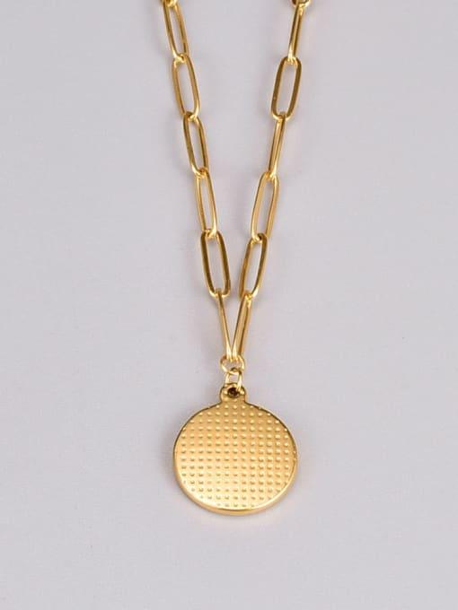 A TEEM Titanium Steel Message Minimalist  Round Pendant Necklace 3