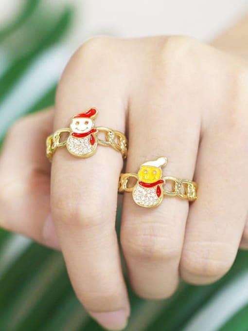 CC Brass Enamel Cubic Zirconia Icon snowman Trend Band Ring 1