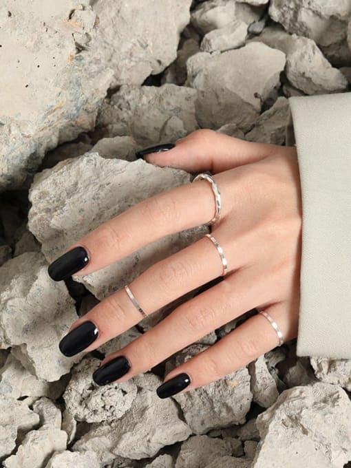 DAKA 925 Sterling Silver Irregular Minimalist Band Ring 2