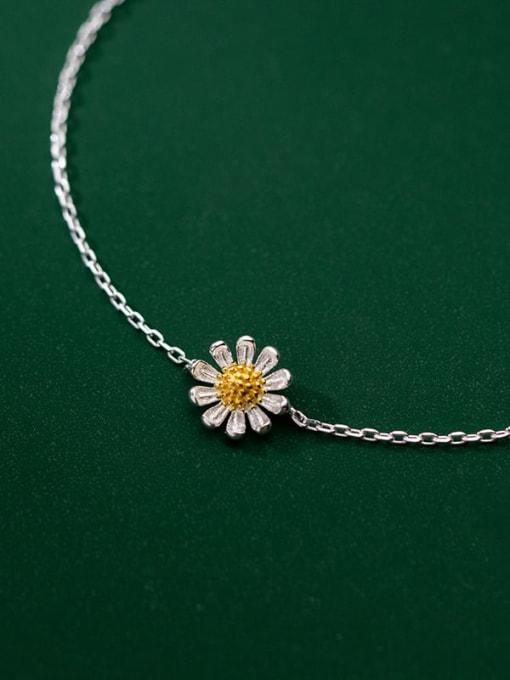 Rosh 925 Sterling Silver  Flower Minimalist Anklet 1