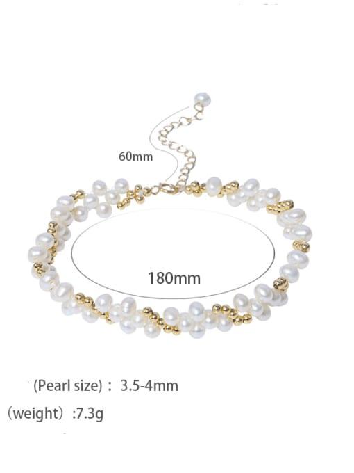Pearl Bracelet Brass Freshwater Pearl Flower Vintage Beaded Bracelet