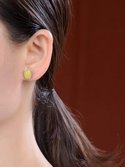 DEER 925 Sterling Silver Opal Oval Vintage Stud Earring 1