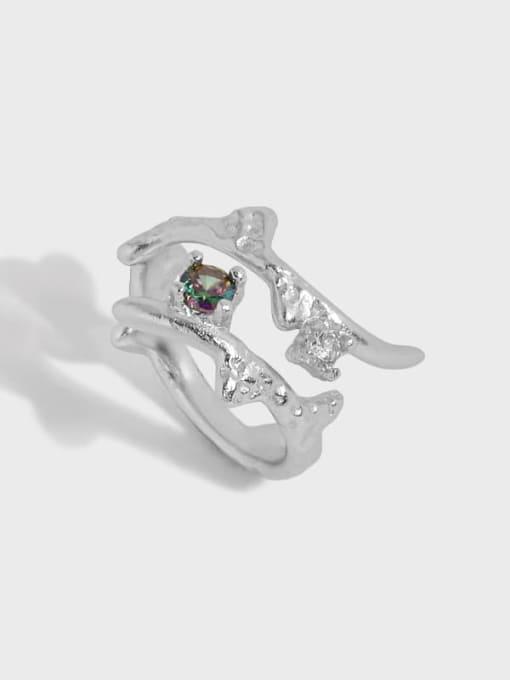 DAKA 925 Sterling Silver Irregular Vintage Band Ring 2