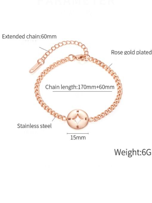 Open Sky Titanium Steel Heart Minimalist Link Bracelet 2