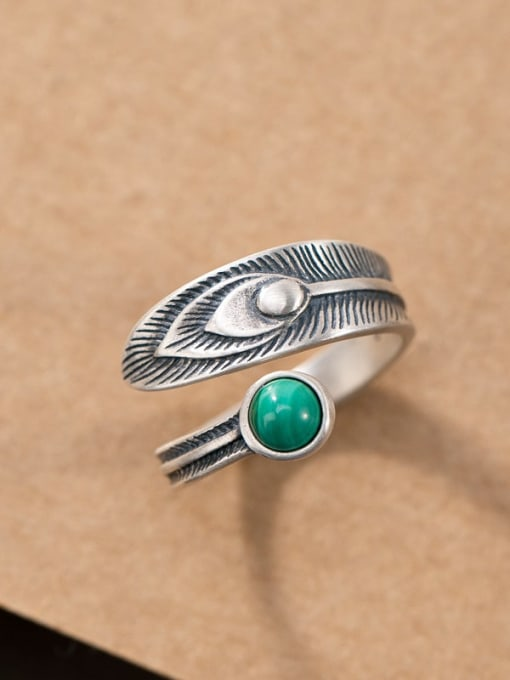 DEER 925 Sterling Silver Malchite Feather Vintage Band Ring 0