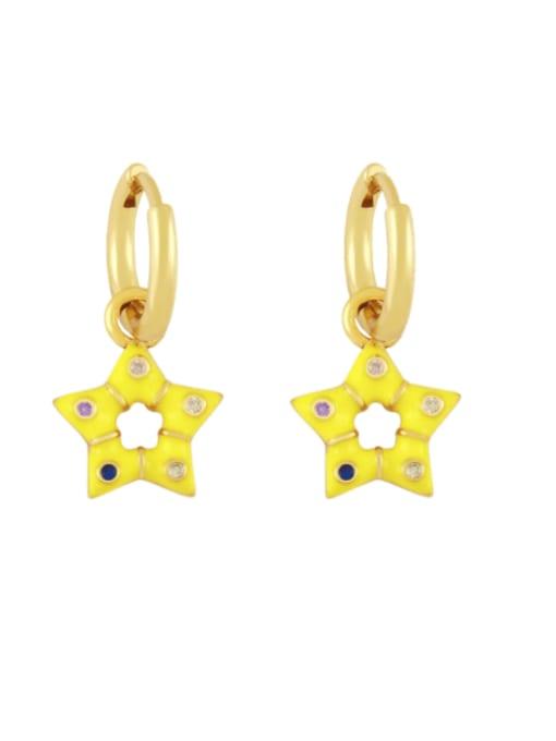 yellow Brass Multi Color Enamel Star Vintage Huggie Earring