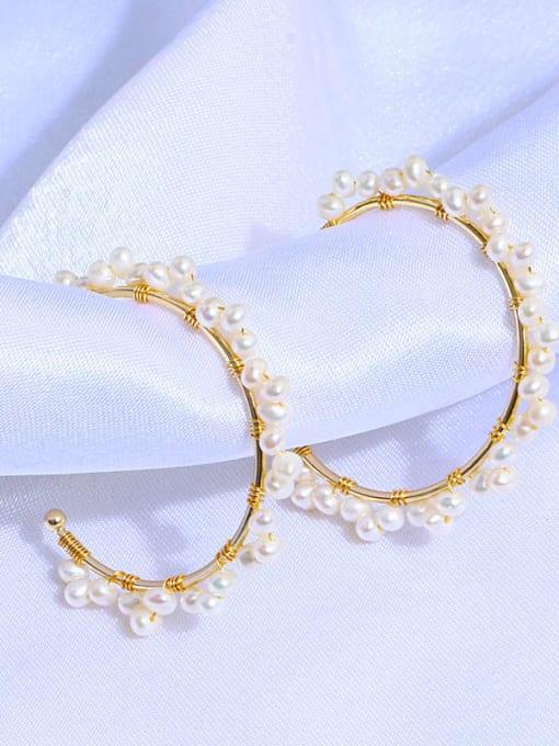 RAIN Brass Freshwater Pearl Geometric Minimalist C shape Drop Earring 1