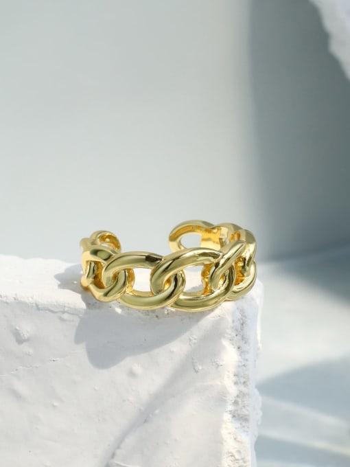 CHARME Brass Hollow Geometric Minimalist Band Ring 1