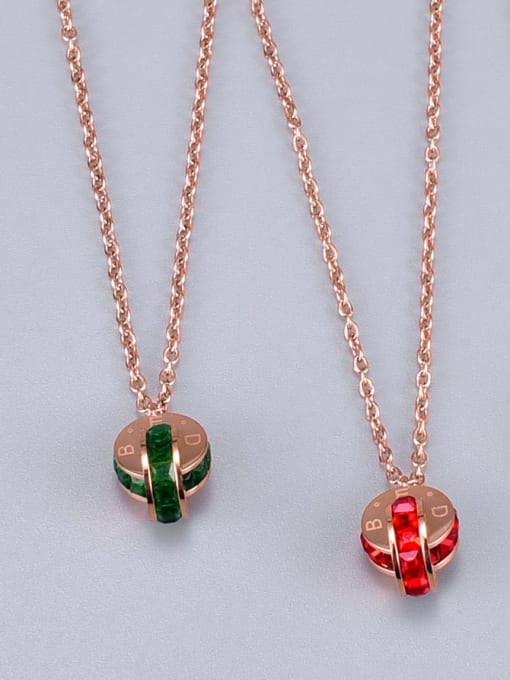 A TEEM Titanium Rhinestone Round Minimalist Necklace