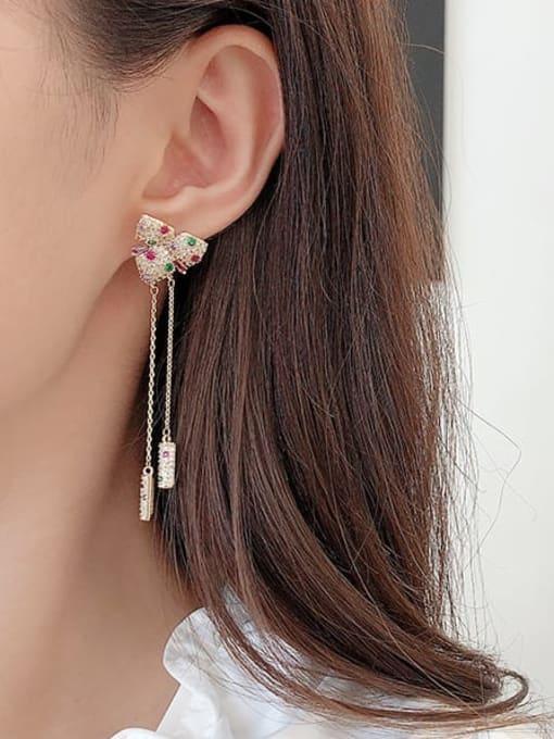 Luxu Brass Cubic Zirconia Butterfly Tassel Trend Drop Earring 2