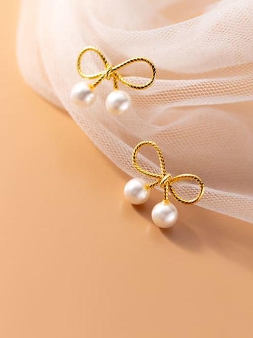 Rosh 925 Sterling Silver Imitation Pearl Bowknot Cute Stud Earring 0