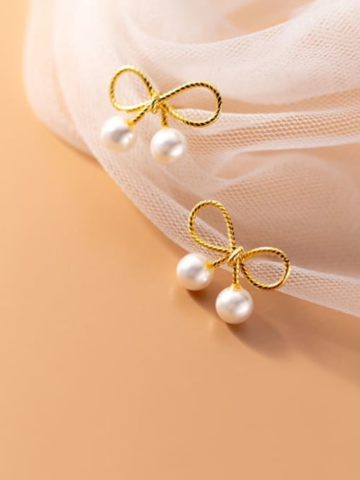 Rosh 925 Sterling Silver Imitation Pearl Bowknot Cute Stud Earring