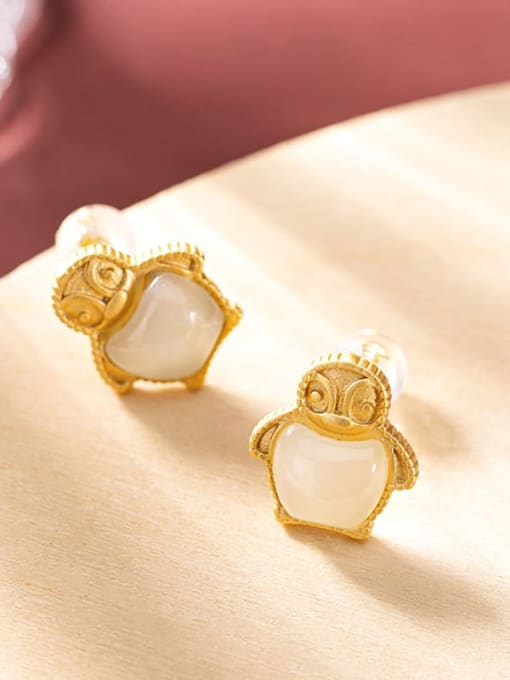 DEER 925 Sterling Silver Jade Irregular  penguin Cute Stud Earring 2