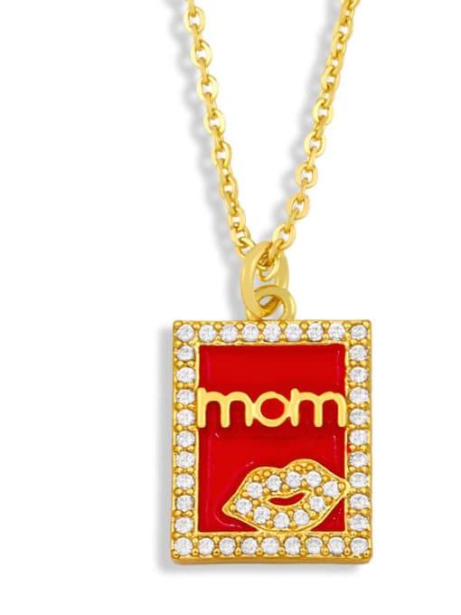 Red Square Brass Enamel Heart Vintage Necklace