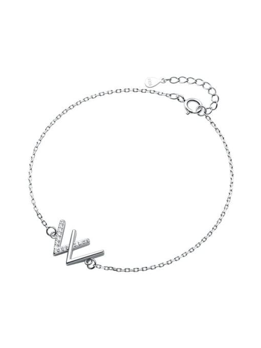 Rosh 925 Sterling Silver Rhinestone Letter Minimalist Link Bracelet
