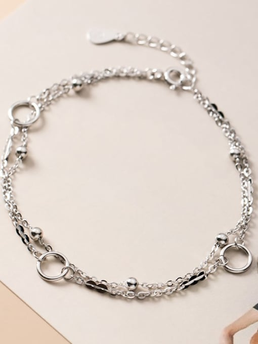 Rosh 925 Sterling Silver Irregular Minimalist Strand Bracelet 2