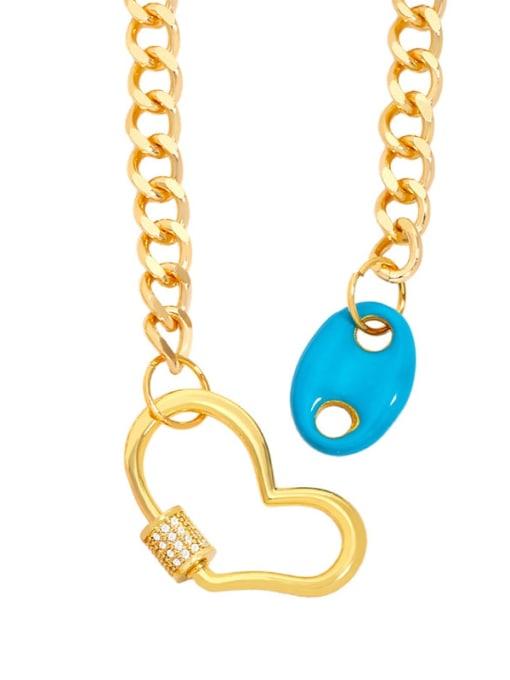 Light blue Brass Enamel Heart Hip Hop Hollow Chain Necklace